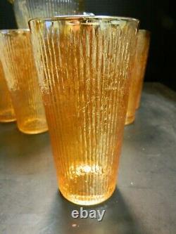 Vintage (9) Pcs Iridescent Marigold Tree Bark Carnival Glass Pitcher Set Excell