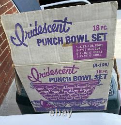 Vintage Federal Glass Iridescent Thumbprint Punch Bowl 8 cups MINT Original Box