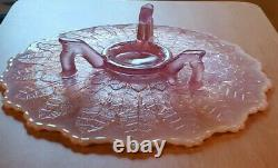 Vintage Fenton 12 Pink Opalescent Cake Plate Footed Stand Leaf Pattern