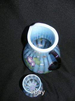 Vintage Fenton Glass Blue Opalescent Diamond Jubilee Tumble up 75th Anniversary