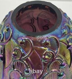 Vintage Fenton IRIDESCENT Carnival Glass Fairy Lamp Lily of the Valley