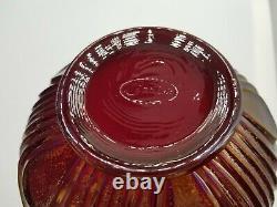 Vintage Fenton Iridescent Ruby Red Carnival Glass Rare Ruffle Vase Beautiful