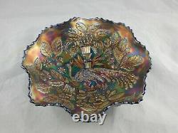 Vintage Fenton Peacock & Urn Ruffled Bowl Blue Iridescent Carnival Glass