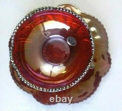 Vintage INDIANA GLASS CO Carnival Glass 2 Piece DESSERT SET Iridescent Sunset