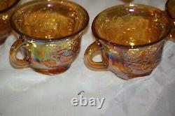 Vintage Indiana Glass Gold Carnival Iridescent Harvest Grape Punch Bowl Set