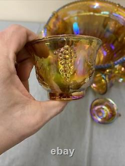 Vintage Indiana Glass Gold Carnival Iridescent Harvest Grape Punch Bowl Set FS