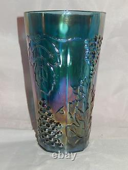 Vintage Indiana Glass Harvest Grape Blue Iridescent Pitcher With 6 Tumblers