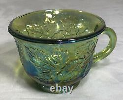 Vintage Indiana Glass Iridescent Green Carnival Punch Bowl Set 12 Cups & Hooks