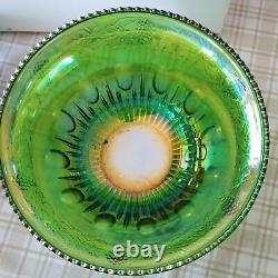 Vintage Indiana Glass Iridescent Lime Carnival Glass Punch Bowl Set