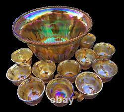 Vintage Indiana Iridescent Carnival Glass Marigold Harvest Grapes Punch Bowl Set