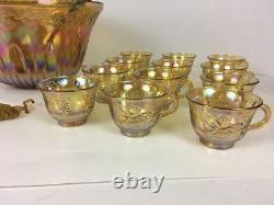 Vintage Indiana Iridescent Yellow Carnival Glass Princess Punch Bowl Set14 pcs
