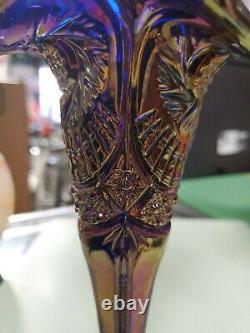 Vintage Iridescent Blue Gold Carnival Glass Vase 8