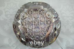 Vintage Iridescent Pink Carnival Deep Cut Glass Bowl With Sawtooth Rim