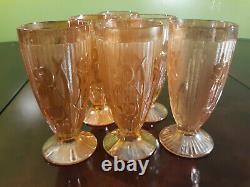 Vintage Jeanette Iridescent Marigold Carnival Iris & Herringbone Glass Set