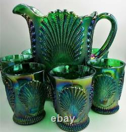 Vintage Mosser Carnival Glass Green Iridescent Pitcher & 6 Tumblers Beaded Shell