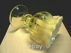 Vintage NORTHWOOD OPALESCENT YELLOW VASELINE BEADED PANEL GLASS VASE