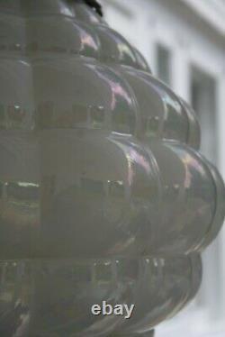 Vintage Opalescent Glass Hanging Pendant Lamp Carnival Glass Multicolor