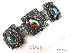 Vintage Quality Iridescent Carnival Glass Cabochon Feather Accent Bracelet 7.5