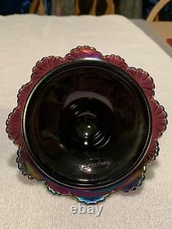 Vintage RARE Fenton Iridescent Amethyst Glass Pagoda Purple Carnival 7