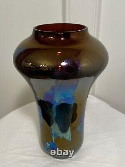 Vintage Signed MASLACH Amethyst Purple Iridescent Carnival Art-Glass Vessel Vase