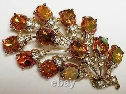 Vintage Signed Schiaparelli Orange Iridescent Carnival Glass Rhinestone Brooch