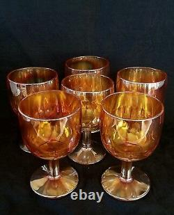 Vintage marigold carnival iridescent glass water goblets SET OF SIX