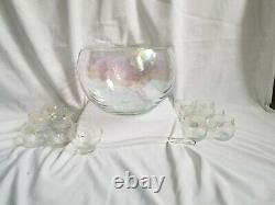 Vintage midcentury Draping Iridescent Glass Punch Bowl +12 cups Set amazing