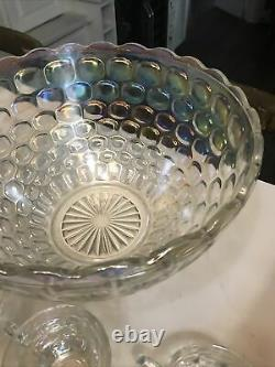 Vtg Federal Glass Iridescent Thumbprint Punch Bowl with8 Cups MINT 18 Pc withHooks