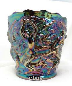 Vtg Fenton Mid-Century Iridescent Amethyst Carnival Glass Mermaid Vase Planter