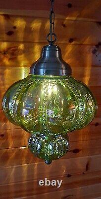 Vtg MCM Retro Iridescent Green Carnival Glass Hanging Swag Light Fixture