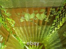 Vtg NORTHWOOD Glass ALASKA Opalescent PITCHER Lions Leg BERRY BOWL Canary Topaz