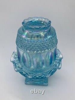 Westmoreland Aqua Blue Iridescent Carnival Glass Fairy Lamp