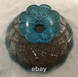 Westmoreland Blue Opalescent Carnival Glass Compote Footed File And Fan Pattern