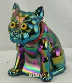 Westmoreland Carnival Glass French Bulldog Iridescent Green 6 Pounds Doorstop