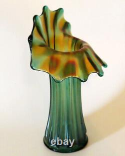 Westmoreland Corinth Carnival Glass Green with Iridescent Gold / Amethyst Jack