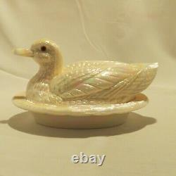 Westmoreland Glass Pink Carnival Duck Covered Candy Dish Iridescent Color MINT