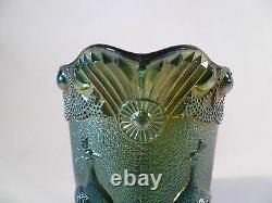 Westmoreland Iridescent Green Strutting Peacock Creamer Carnival Glass